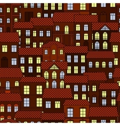 Seamless pattern of european night town vector image