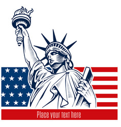 statue of liberty nyc usa flag and symbol vector image vector image