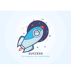 Success Icon with a Rocket Ship vector image vector image