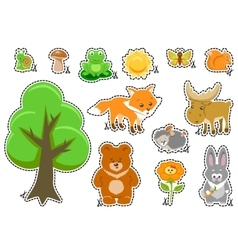 Woodland Animals and Cute Forest Design Elements vector image vector image