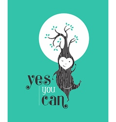 Yes you can motivation quote greeting card elf vector