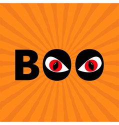 Word boo text with red eyes evil eyeballs happy vector