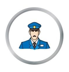 Museum security guard icon in cartoon style vector