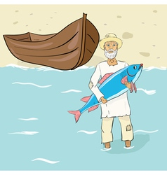 The old fisherman with fish ashore vector