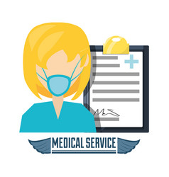 Doctor with mask and diagnostic prescription vector