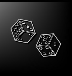 Dices sign  gray 3d printed icon on black vector