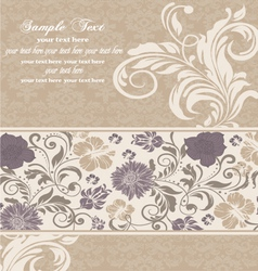 vintage invitation card on damask background vector image