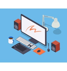 Digital artist workplace vector