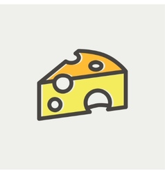 Piece of cheese thin line icon vector