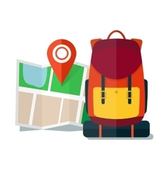 Travel map with backpack flat icons tourist vector