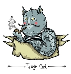 Tough cat - hand drawn vector