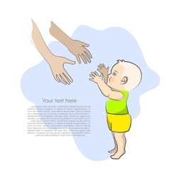 Baby and mothers arms isolated on blue background vector image