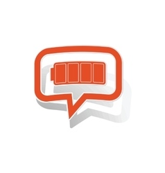 Full battery message sticker orange vector