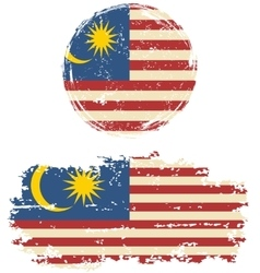 Malaysian round and square grunge flags vector