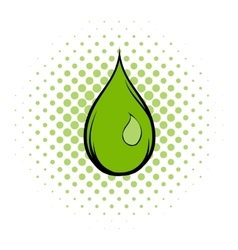 Green water drop comics icon vector