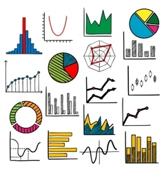 Infographic charts or graphs icons vector