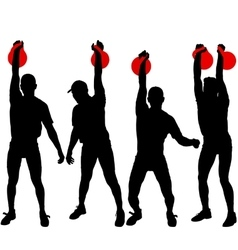 Set silhouette muscular man holding kettle bell vector