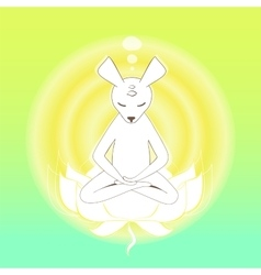 Meditating mouse in the lotus vector