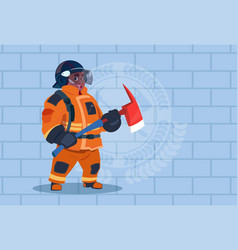 African american fireman holding hammer wearing vector