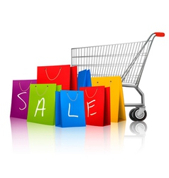 Background with colorful shopping bags and vector image