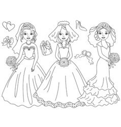 Black and white brides set vector