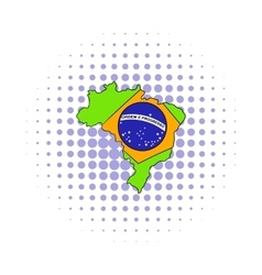 Brazil map and flag icon comics style vector image
