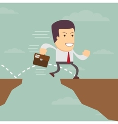 Businessman jump through the gap vector