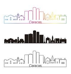 Caracas v2 skyline linear style with rainbow vector