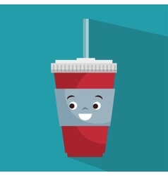 Cartoon cup plastic soda with straw vector