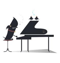 Cartoon dog a pianist silhouette isolated vector