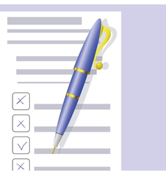 Checklist and Pen vector image
