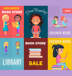 Children bookstore good reading in library sale vector