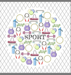 circular concept of sport equipment background vector image