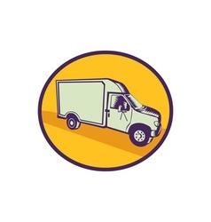 Closed delivery van woodcut vector