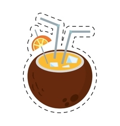 Coconut cocktail exotic drink lime ice straw dot vector