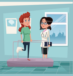 Color background hospital room with woman in vector