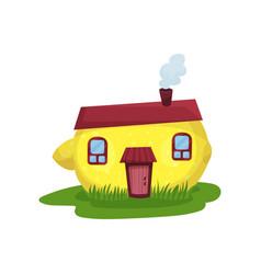 Cute fantasy house in form of yellow lemon fairy vector