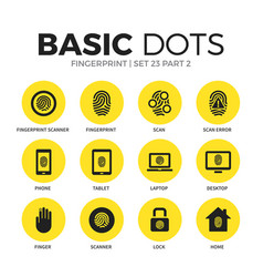 fingerprint flat icons set vector image