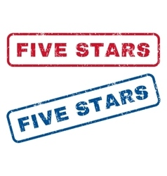 Five stars rubber stamps vector