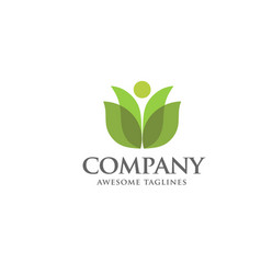 green leaf and health care logo vector image vector image