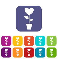 Heart flower in a pot icons set flat vector