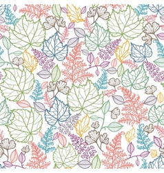 Line Art Leaves Seamless Pattern Background vector image