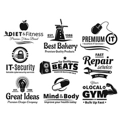 Logo label insignia and icon set vector