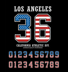 los angeles set number textured flag america vector image vector image