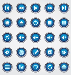 Media button blue vector
