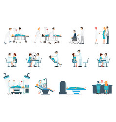 Medical staff and patients different situations vector