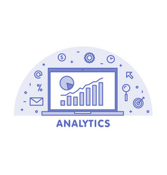online analytics concept line laptop with web vector image vector image
