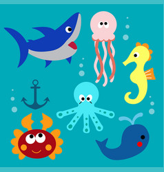 set with cartoon fishs vector image vector image