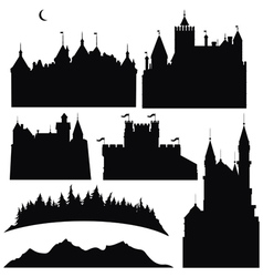 silhouettes of castles and elements for design vector image vector image