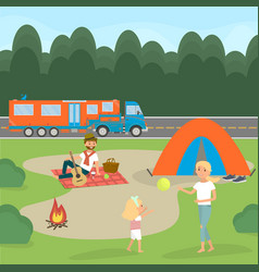 Summer family picnic travel by campervan vector